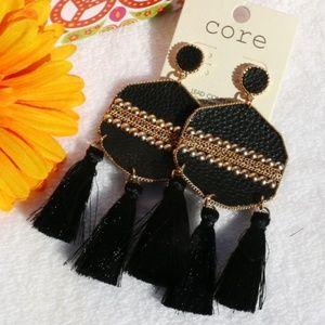 Boho Leather Dangle Tassel Post Earrings Goldtone